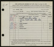 Entry card for Wood, Marian for the 1949 May Show.