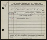 Entry card for Wooddell, Joseph M. for the 1949 May Show.