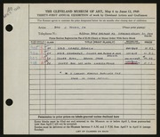Entry card for Young, Don J., Jr. for the 1949 May Show.