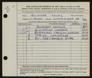 Entry card for Young, Jay Quinter for the 1949 May Show.