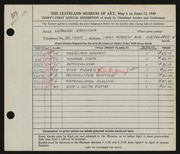 Entry card for Zamiska, Leonard for the 1949 May Show.