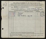 Entry card for Adams, Doris Jane for the 1951 May Show.