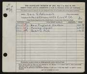 Entry card for Adomeit, George G. for the 1951 May Show.