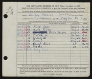 Entry card for Aldrich, Dorothy Lindquist for the 1951 May Show.
