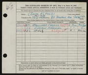 Entry card for Alfoldi, Clara for the 1951 May Show.