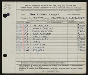 Entry card for Andres, Richard for the 1951 May Show.