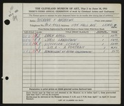 Entry card for Andrews, Suzanne F. for the 1951 May Show.