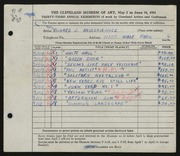 Entry card for Anuszkiewicz, Richard J. for the 1951 May Show.