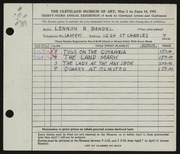 Entry card for Bandel, Lennon R. for the 1951 May Show.