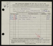 Entry card for Basterrechea, Louis for the 1951 May Show.