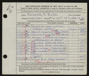 Entry card for Bates, Kenneth F. for the 1951 May Show.