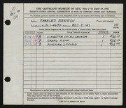 Entry card for Beregi, Charles for the 1951 May Show.