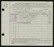 Entry card for Bidner, Robert for the 1951 May Show.