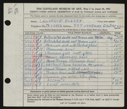 Entry card for Blazey, Lawrence for the 1951 May Show.