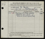 Entry card for Blum, Helaine Dorothy for the 1951 May Show.