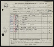 Entry card for Bohdal, Jeannette Antonia for the 1951 May Show.