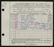 Entry card for Bowen, James Leonard for the 1951 May Show.