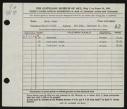 Entry card for Boyer, Betty for the 1951 May Show.