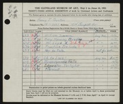 Entry card for Boynton, Henry Percy for the 1951 May Show.