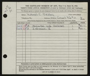 Entry card for Brisley, Robert Chapman for the 1951 May Show.