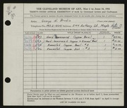 Entry card for Brodie, George H. for the 1951 May Show.