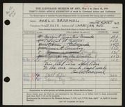Entry card for Broemel, Carl William for the 1951 May Show.