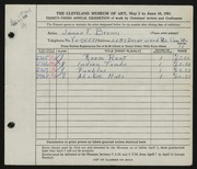 Entry card for Brown, James T. for the 1951 May Show.