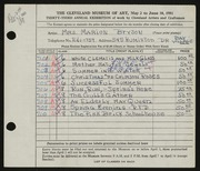 Entry card for Bryson, Marion Camp for the 1951 May Show.