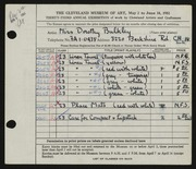 Entry card for Bulkley, Dorothy for the 1951 May Show.