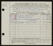 Entry card for Bunce, Marie R. for the 1951 May Show.