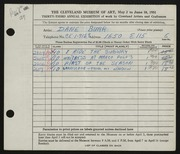 Entry card for Burr, Dane for the 1951 May Show.
