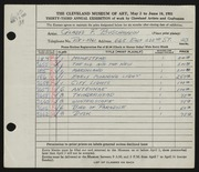 Entry card for Buschmann, Gladys F. for the 1951 May Show.