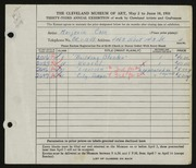 Entry card for Cain, Marjorie Ann for the 1951 May Show.