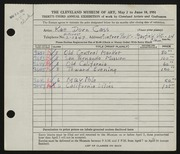 Entry card for Cass, Katherine Dorn for the 1951 May Show.