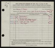 Entry card for Cassel, Virginia C. for the 1951 May Show.