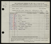 Entry card for Cole, Helen Champney for the 1951 May Show.