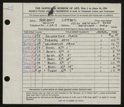 Entry card for Combes, Herbert L. for the 1951 May Show.
