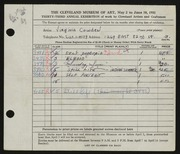 Entry card for Cowden, Virginia for the 1951 May Show.