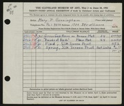 Entry card for Cunningham, Mary Phillips for the 1951 May Show.