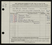 Entry card for Cykowski, Beulah Osborn for the 1951 May Show.