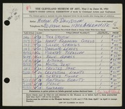 Entry card for Davidson, Myron Russell for the 1951 May Show.
