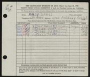 Entry card for Dawes, Nancy for the 1951 May Show.