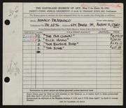 Entry card for De Marco, Marco for the 1951 May Show.