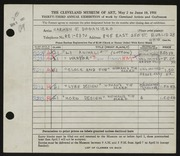 Entry card for Doganiero, Carmen J. for the 1951 May Show.