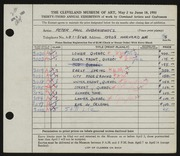 Entry card for Dubaniewicz, Peter Paul for the 1951 May Show.