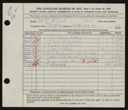 Entry card for Ford, Bryce Fight for the 1951 May Show.
