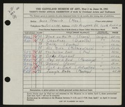 Entry card for Francis, Anna for the 1951 May Show.