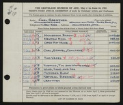 Entry card for Gaertner, Carl Frederick for the 1951 May Show.