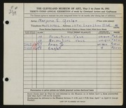 Entry card for Goslee, Marjorie Eileen Evans for the 1951 May Show.