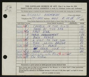 Entry card for Gosminski, Richard for the 1951 May Show.